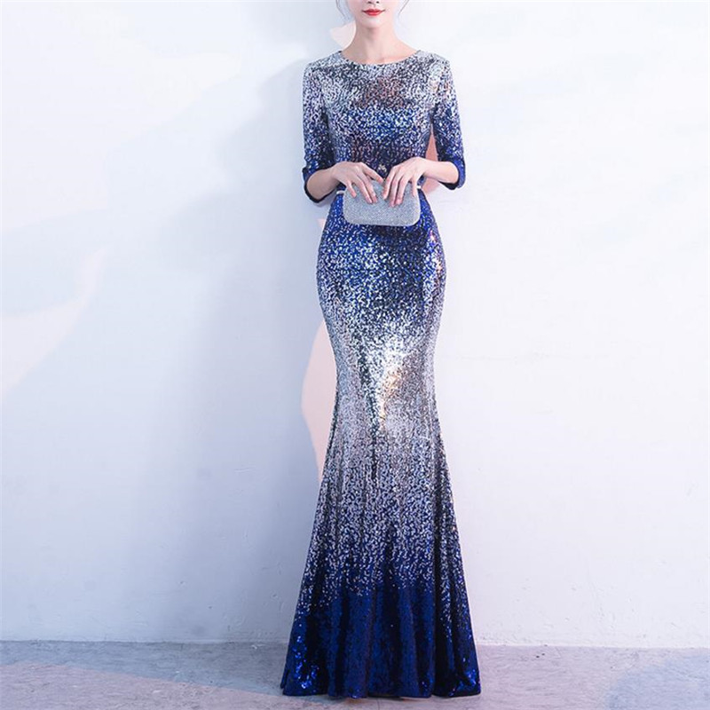 3/4 Sleeve Evening Party Dresses 2018 New Fashion Women Floor Length Gown Silver Blue Sequin Dress Plus Size 4XL 5XL Clothing