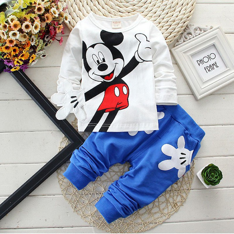 2016 Kids Clothes Spring Autumn Cartoon Girls Clothes Set Baby Boys Minnie Clothing Cotton T shirt Pants Children Clothing Set 2016 hot children clothing set baby girls boys autumn spring suit hoodies pants cartoon clothes kids sportswear kids clothes