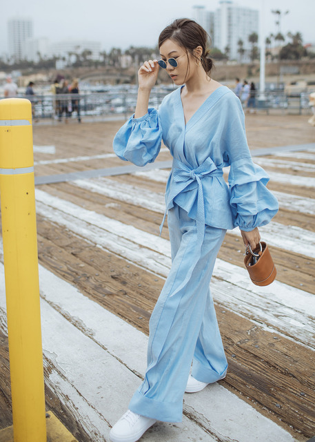 AEL Fold Bishop Sleeve Kimono Type Blouse Lace Up Loose Top And Long Wide Leg Pants 2019 Women Clothing Two Piece Set Spring