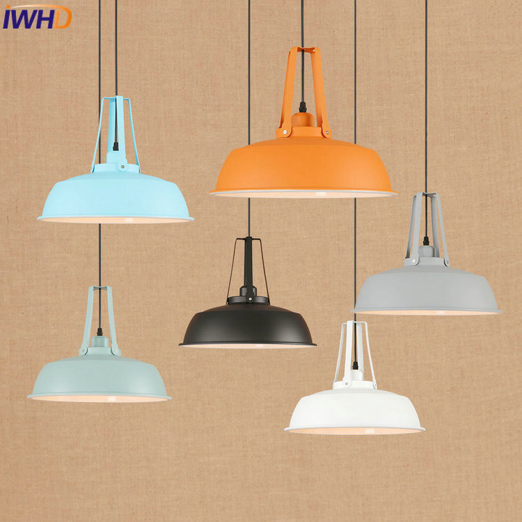 IWHD Iron Nordic LED Pendant Lights Vintage Industrial Loft Pendant Lamp Colorful RH Hanglamp Fixtures Home Lighting Luminaire iwhd loft retro led pendant lights industrial vintage iron hanging lamp stair bar light fixture home lighting hanglamp lustre