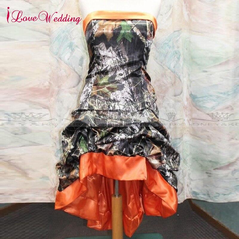 iLoveWedding Strapless Hi-lo Camo and Orange Satin Custom made Short Plus Size Wedding Dresses 2018