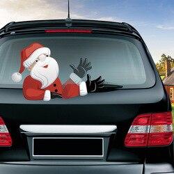 Nuevo coche limpiaparabrisas trasero de la etiqueta engomada de la decoración de la Navidad limpiaparabrisas trasero pegatinas Santa Claus saludando Ventana de coche limpiaparabrisas pegatinas de calcomanías
