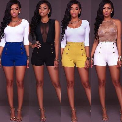 2017 Summer Women Vintage High Waist Casual Shorts Short Hot Chic 6 Buttons Sexy Trouser