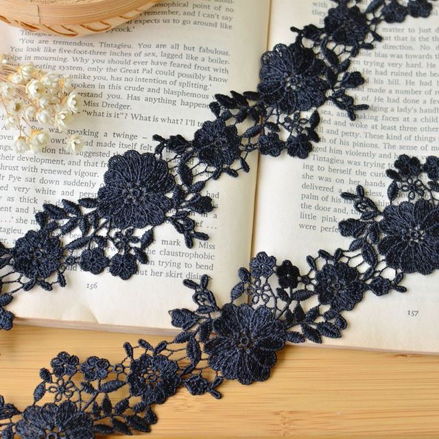 Free Shipping 10 yards/lot 5cm width Black Flower Gorgeous embroidered lace  trim ribbon DIY