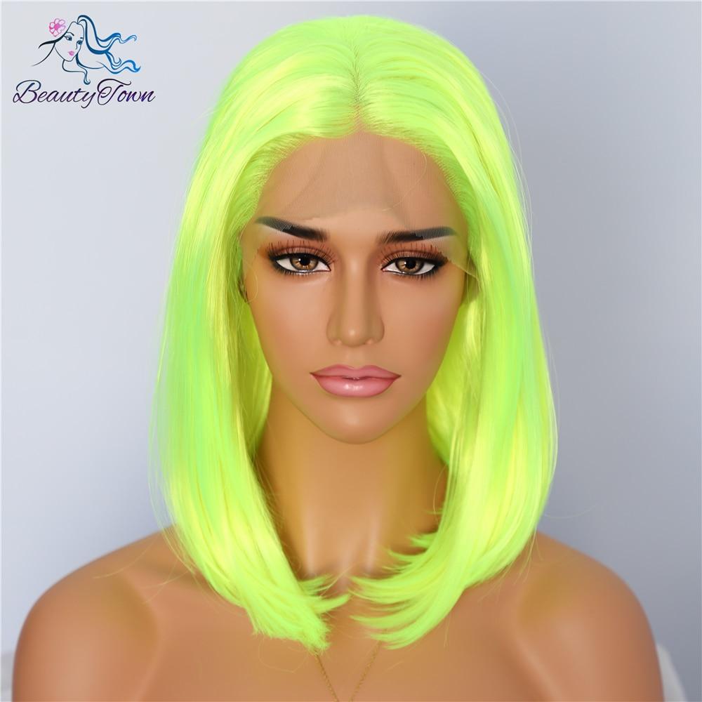 BeautyTown Short Neon Yellow Color Natural Bob Style Queen Makeup Women Wedding Halloween Party Present Synthetic