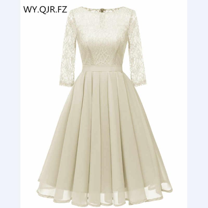 CD1655M Chiffon + Lace Pleated short Evening Dresses Beige Classmate party  dress gown prom wholesale 0cd8ca3e07d3