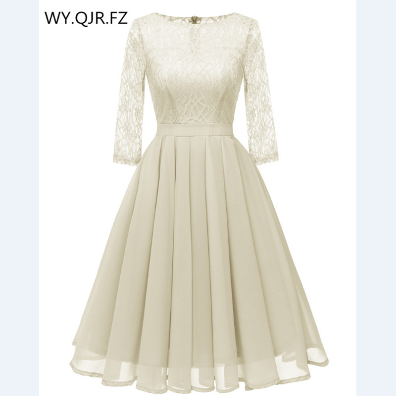 CD1655M#Chiffon + Lace Pleated short   Evening     Dresses   Beige Classmate party   dress   gown prom wholesale fashion women's clothing