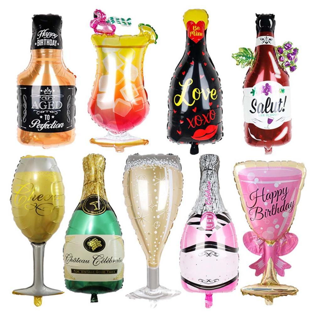 Large Beer Cup Balloons Gold Whiskey Wine Bottle Shape Foil ballon Inflatable helium Globos Birthday Hen Party Decorations Adult