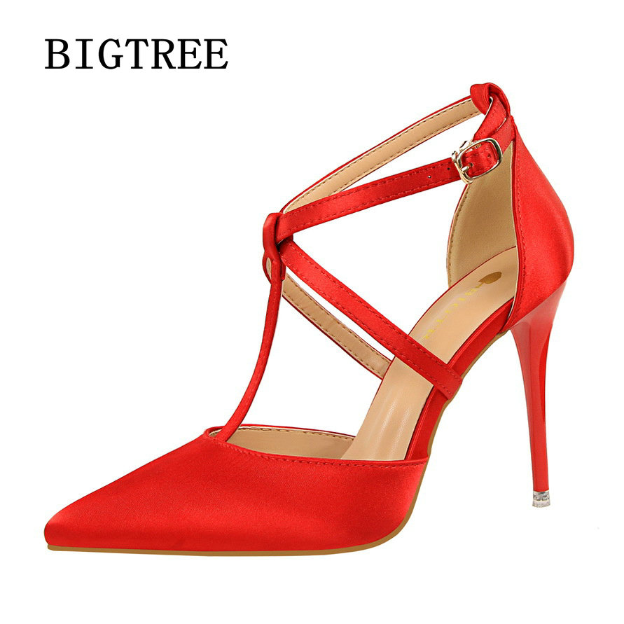 BIGTREE 2017 Women pumps Sexy T strap buckle pointed toe stiletto high heels Fashion Flock Spring Summer Single shoes Woman women pumps flock high heels shoes woman fashion 2017 summer leather casual shoes ladies pointed toe buckle strap high quality
