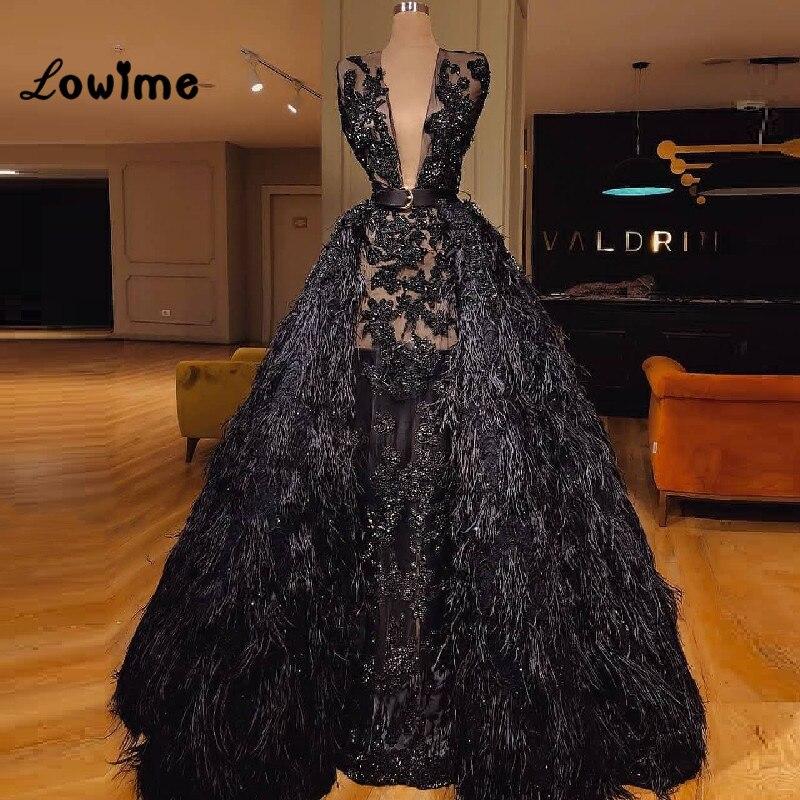 Noir Plume Robe De Soirée Arabe Pour Moyen-Orient Femmes Profonde V Cou Appliqued Long Élégant Robes De Bal Robe De Festa Longo