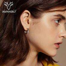 Viennois Rose Gold & Silver Color 925 Sterling Silver Stud Earrings for Women Geometric Zircon Earrings Fashion Party Jewelry viennois luxury silver color zircon stud earrings women fashion jewelry simulated pearl geometric earrings for party wedding