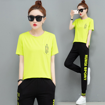 Yellow Tracksuit for Women Outfits Sportswear Fitness Co-ord Female Two Piece Set Top and Pant 2020 Summer Plus Size Clothing orange plus size 2 piece set women pant and top outfit tracksuit sportswear fitness co ord set 2019 summer large big clothing
