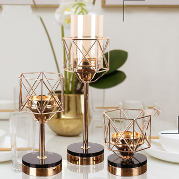 Gold Candle Holders Metal Candlestick Flower Vase Table Black Glass Centerpiece Event Flower Rack Road Lead Wedding Decoration