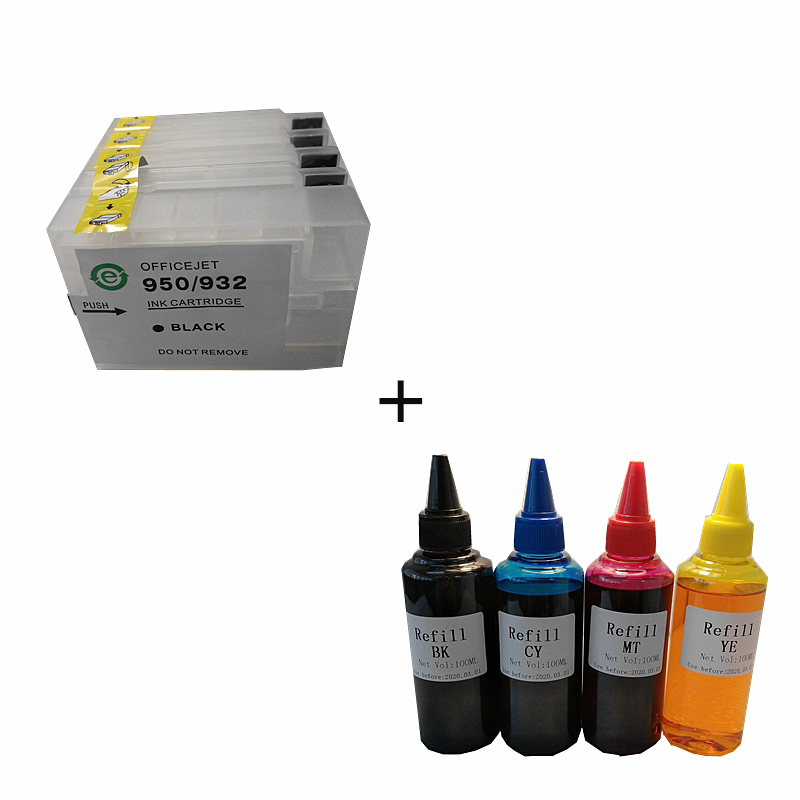 compatible 950XL 951XL Refillable ink cartridge for Officejet Pro 8100 8600 8630 8610 8620 8680 8615 + for Dey ink 400ML