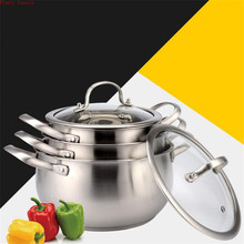 Thickened bottom stainless steel soup pot with double handle glass cover induction gas cooker non-stick mouth 18/20/22/24 cm