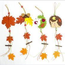 Новинка весны, товары для украшения дома, креативный войлок, мультяшный ежик, кленовый лист, декоративная подвеска, деревянная подвеска из бисера