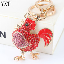 Red Cock Rooster Fashion Rhinestone Crystal Purse Bag car Key Ring chain Jewelry Christmas Party Wedding Gift