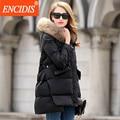 Venda quente Das Mulheres Para Baixo Casaco de Inverno 2016 Nova Grande Gola De Pele Senhoras casaco Longo Casacos Grossos Casacos Com Capuz Roupas Da Moda Femal Y149