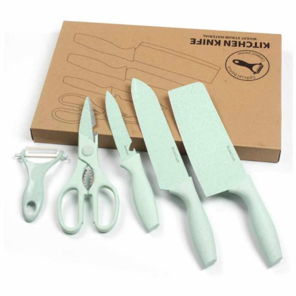 2019 6 قطعة المطبخ طقم السكاكين شفرات من الحديد الصلب سكين الطاهي مجموعات Santoku فائدة تقطيع أدوات الطبخ المطبخ مع صندوق هدية