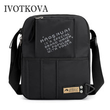 лучшая цена IVOTKOVA Vintage Men's Messenger Bags Nylon Shoulder Bag Fashion Men Business Crossbody Bag Printing Travel Handbag Big Capacity