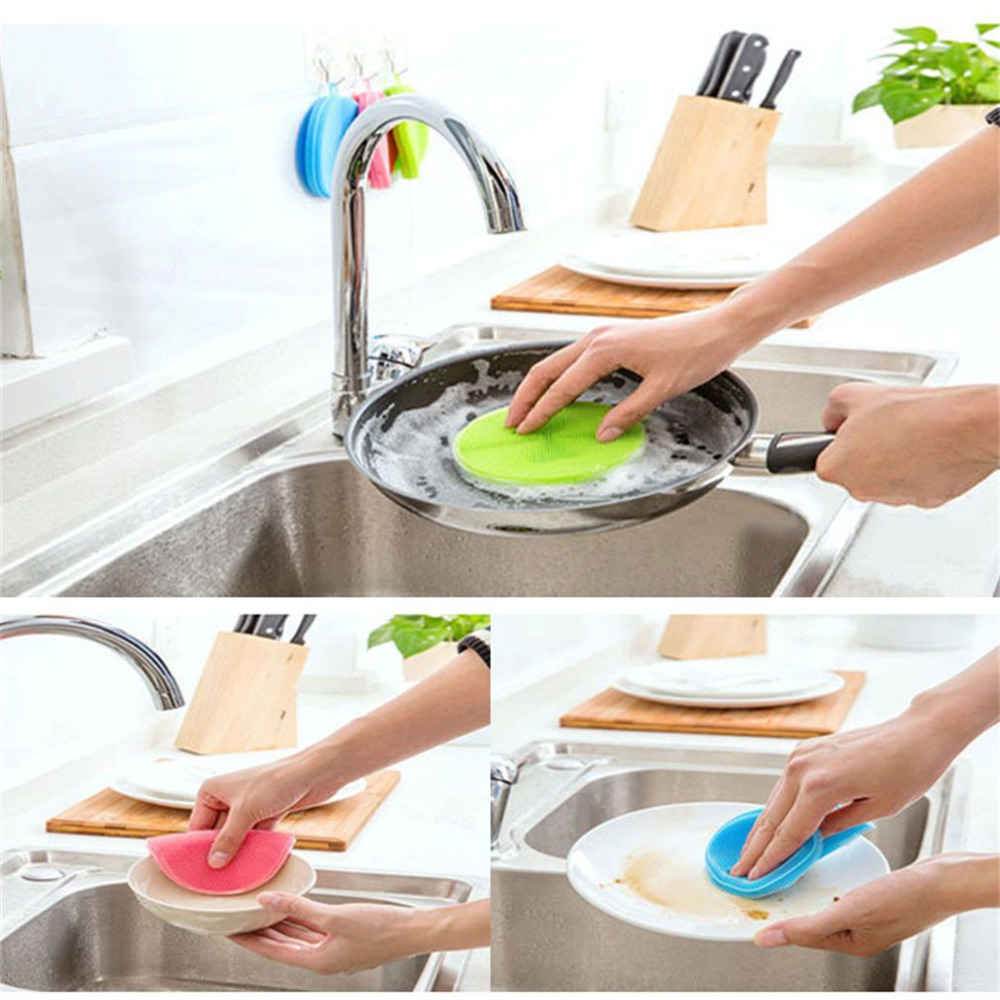 Washing Hair With Dish Soap To Remove Color: 3 Colos Silicone Dish Washing Sponge Scrubbers Vegetable