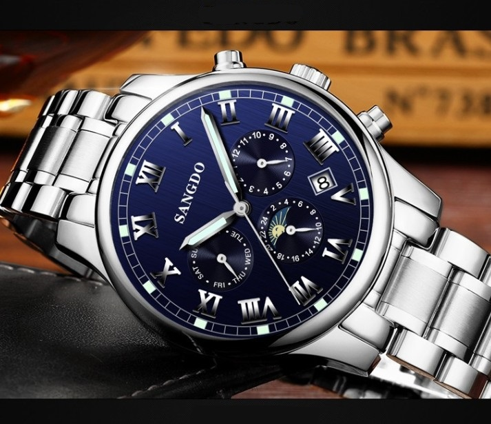 42mm Sangdo Business watch Automatic Self-Wind movement Sapphire Crystal Mechanical multifunction Men's watch 053SD deluxe ailuo men auto self wind mechanical analog pointer 5atm waterproof rhinestone business watch sapphire crystal wristwatch