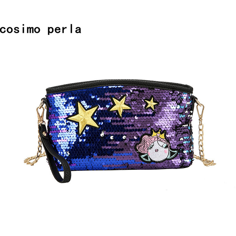 Cartoon Star Bling Glitter Sequins Chain Shoulder Bag Fashion Crossbody Bags for Women Small Luxury Girls PU Wristlets Clutch цена и фото