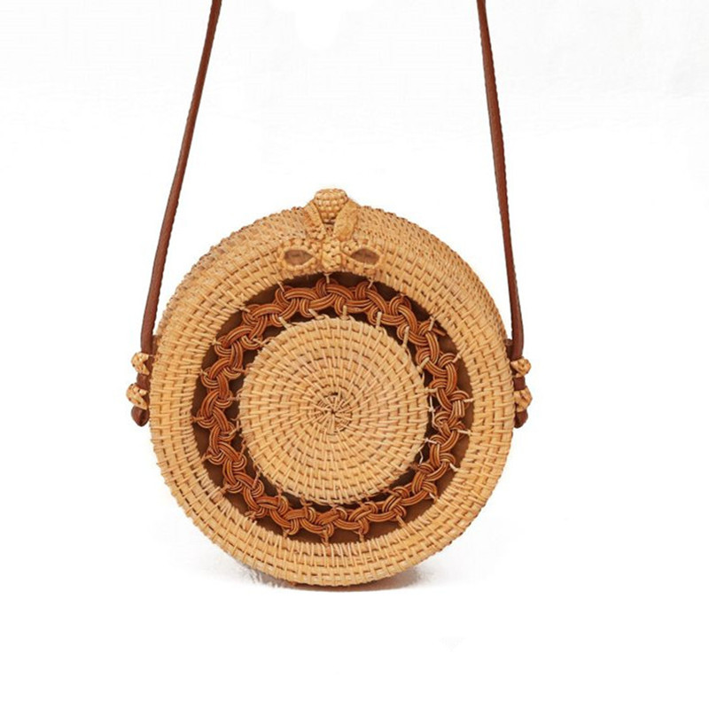 2019 Bohemian Bali Hand Woven Bag Round Rattan Straw Bags Small Circle Beach Women Handbags Summer Vintage Straw  Bag(China)