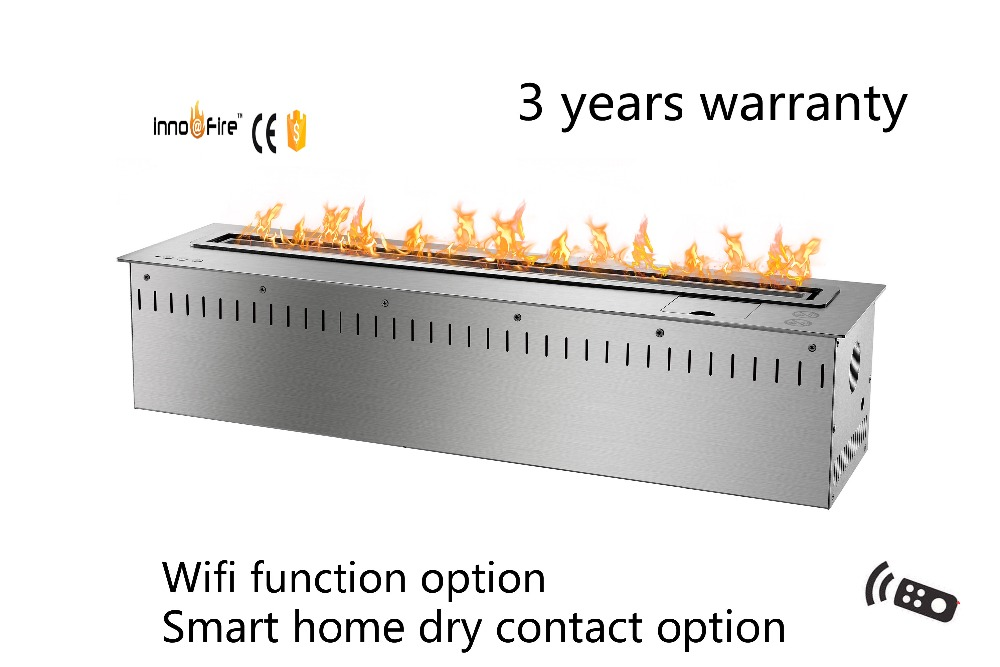 30 Inch Long Remote Control Intelligent Silver Or Black Bio Ethanol Artificial Flames Electric Fireplace