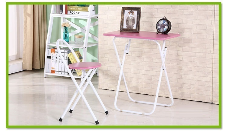 Living Room Chair Table Free Shipping Garden Villa Home Coffee Stool Pink  Blue Color Desk Foldable Furniture