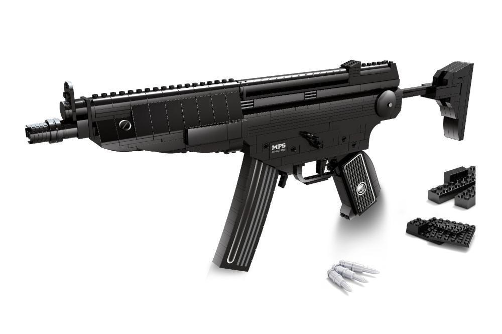 MP5 Sniper Assault Rifle GUN Weapon Arms Model 3D 59Model Brick Gun Building Block Set Toy Gift Children