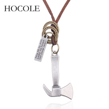 HOCOLE 2018 New Design AX Men Necklaces Brown Leather Chain Hatchet Pendant Necklace Male Jewelry Punk Style Gift For Boys Colar