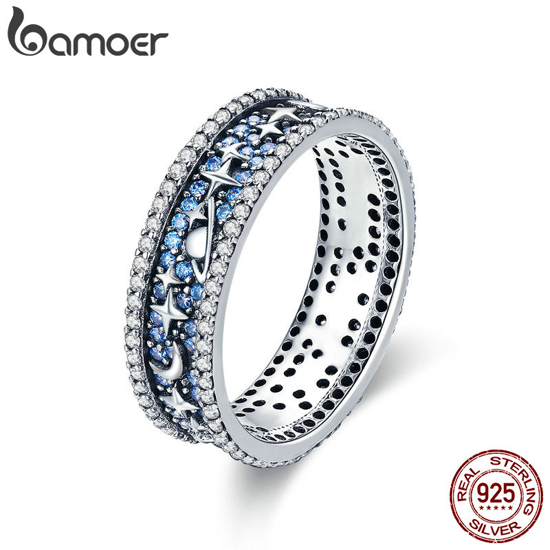 BAMOER  Authentic 925 Sterling Silver Sparkling Star Sky Wedding Cocktail Rings for Women Engagement Ring Jewelry SCR347