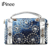 iPinee Summer fashion women handbags designer diamond decoration oxford tote bags casual ladies purse beach bag