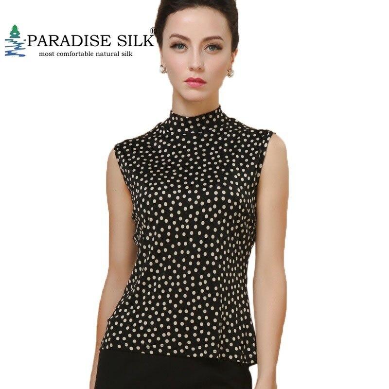 Femmes haut sexy 100% pur soie tricot imprimé col roulé t-shirt sans manches taille L XL XXL