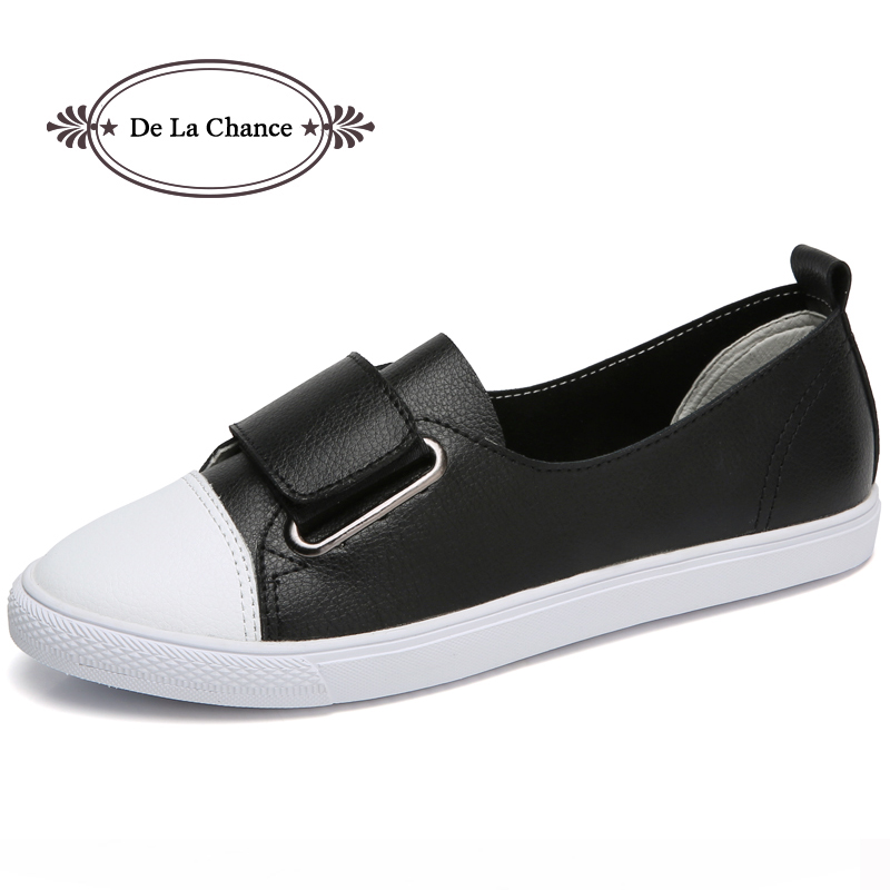 De La Chance 2018 New Fashion Flat Women Casual Shoes Breathable Leather Shoes Woman Spring Autumn Hook & Loop Women Flats 2017 new spring imported leather men s shoes white eather shoes breathable sneaker fashion men casual shoes
