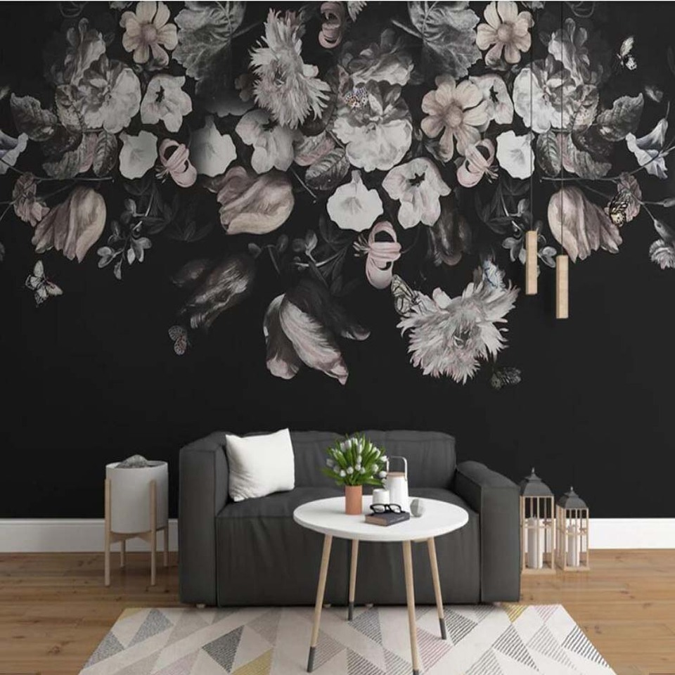 Dark Color Vintage Black And White Floral Wallpaper Wall Murals