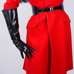 Image 2 - Модные женские длинные перчатки, широкие манжеты, искусственная кожа, три бруска, белые, черные, 50 см, унисекс, T78