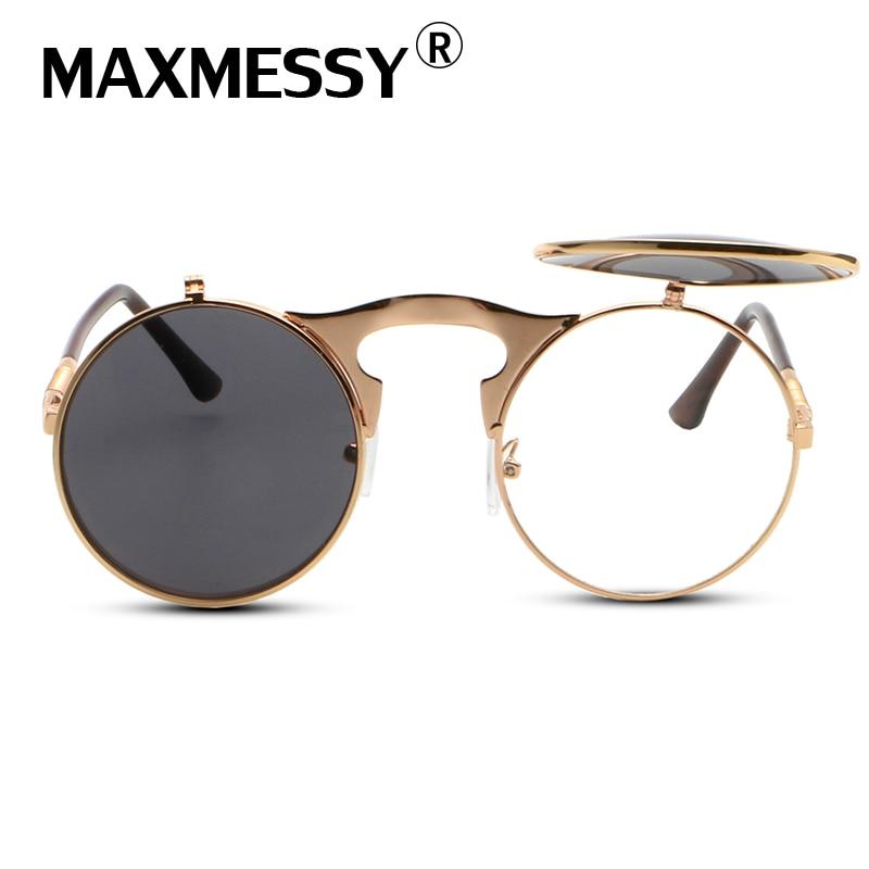 MAXMESSY Vintage Steampunk Sungalsses Round Metal Frame Glasses clamshell flip Seam Punk Sun Glasses OCULOS de