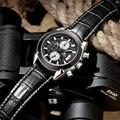 Megir cronógrafo de cuarzo relojes de cuero casual de negocios de los hombres militar reloj hombre reloj impermeable de lujo relojes hombre