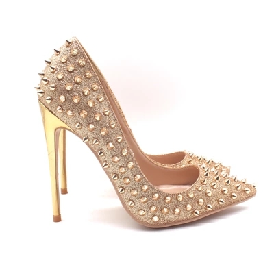 Women Gold Bling Bling High Heel Pumps Rivets Decoration Pointed Toe Metal Heel Dress Shoes Slip On Shallow Pumps Office Lady luxury hot selling golden color heel with bling bling crystal clock decoration pumps glossy patent leather chunky heel shoes