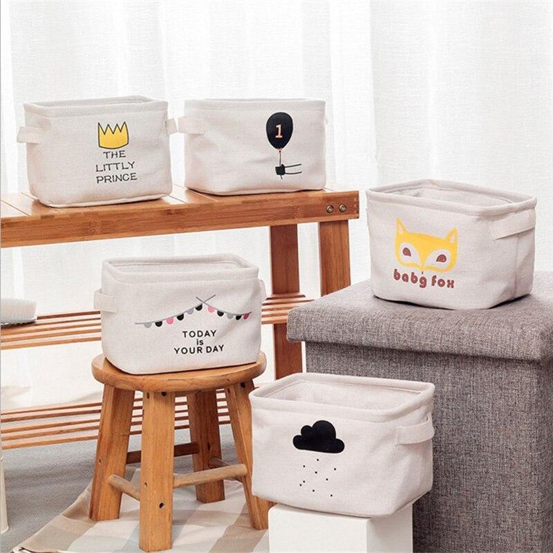Desktop Storage Basket Cotton Linen Sundries Toy Cosmetic Stationery Jewelry Small Cute Table Underwear Sock Organizer Holder