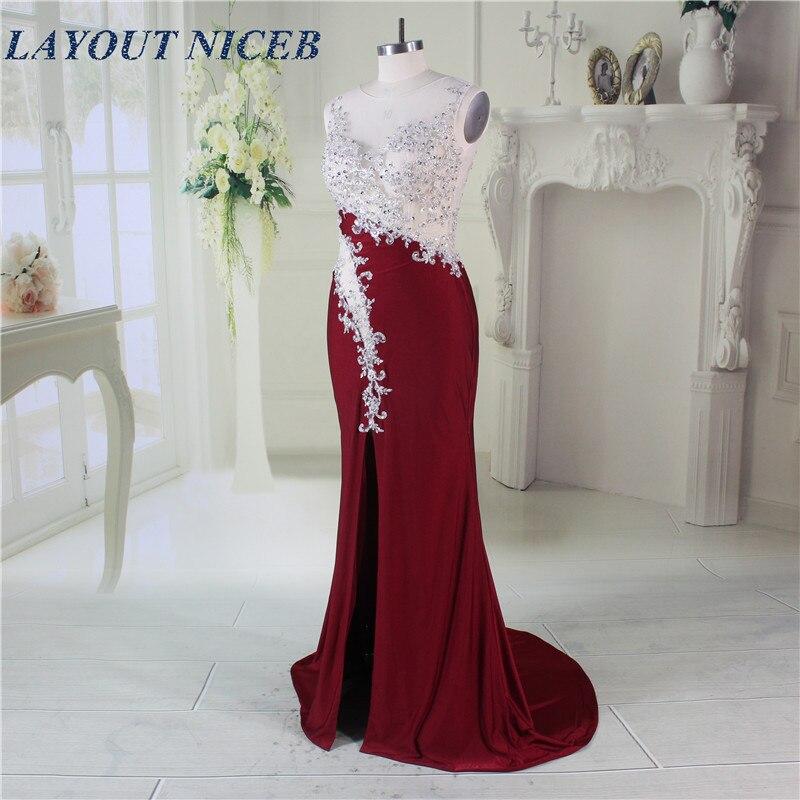 Elegant Robe de Soiree Illusion Neckline Forsiden Split Sexy Burgundy - Spesielle anledninger kjoler - Bilde 4