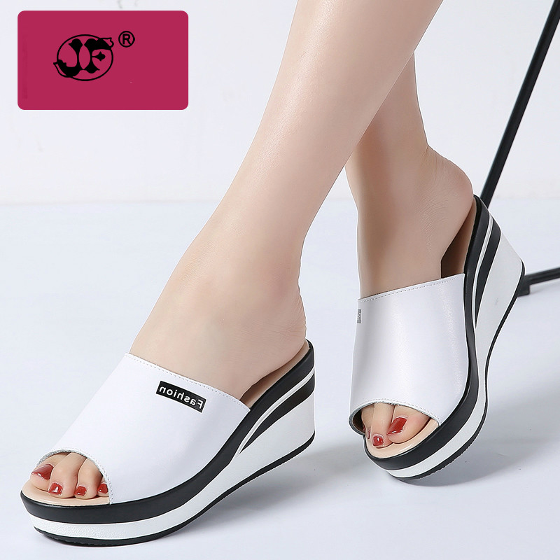 2018 летние женские босоножки натуральная кожа с открытым носком Обувь на высоком каблуке Вьетнамки Сабо обувь женские белые шлепанцы обувь