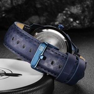 Image 4 - NAVIFORCE reloj deportivo de cuarzo para hombre, resistente al agua, de cuero genuino, fecha, semana, masculino