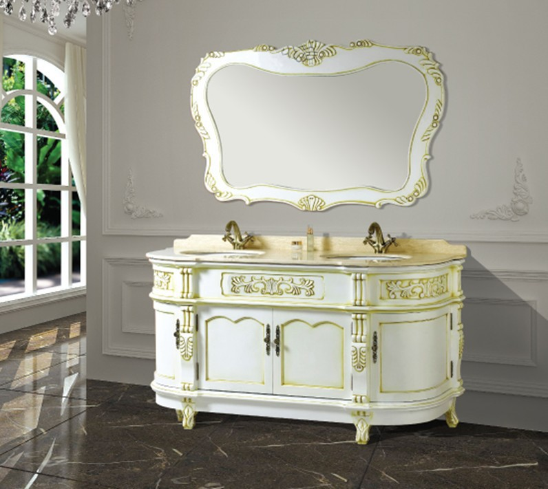 Hot Sales Antique Bathroom Cabinet With Mirror And Basin Counter