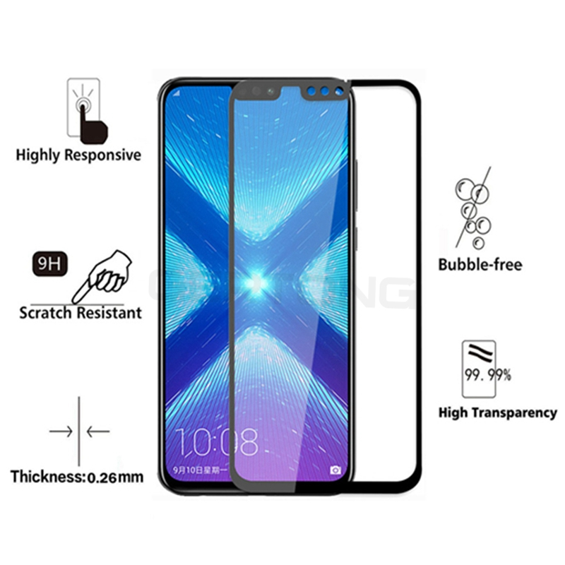 GerTong Full Cover Tempered Glass For Huawei Honor 8X Screen Protector Protective Glass Film For Honor 8X Glass Toughened Film