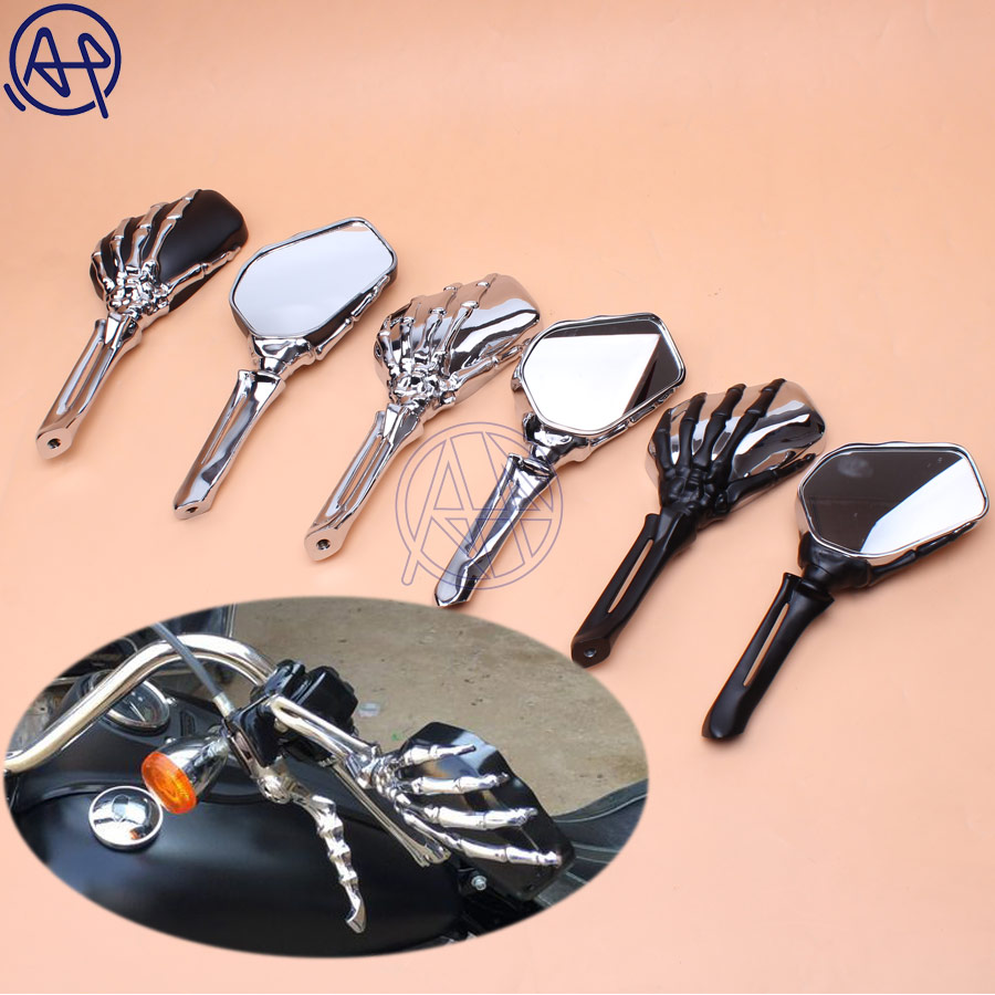 Pour Harley Sportster Dyna Touring Softail Honda Yamaha aluminium crâne miroirs à main rétroviseur latéral boulons 10mm 8mm 3 couleurs