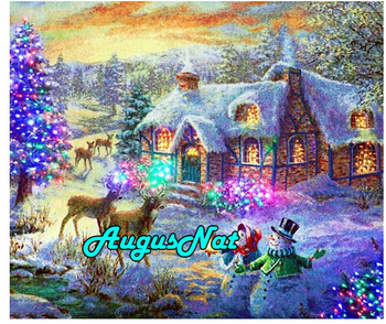 winter cottage diamond painting full round snowman daimond embroidery picture snow village diamant mosaic sticker christmas stag image