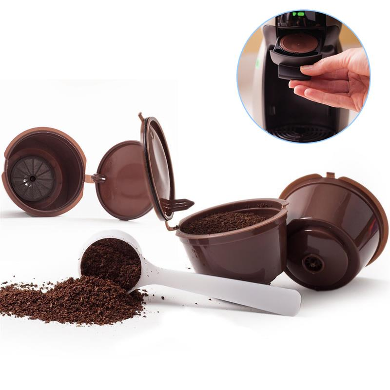 2pcs+Spoon Recaps Reusable Refillable Capsules Pods for Nescafe Machines Maker Coffee Capsule Pod Cup Dolce Gusto Capsules